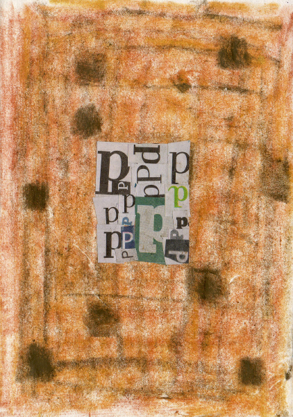 Collage and Wax on Handmade Paper