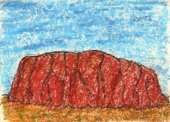 Uluru - fine liner and oil pastel on handmade paper
